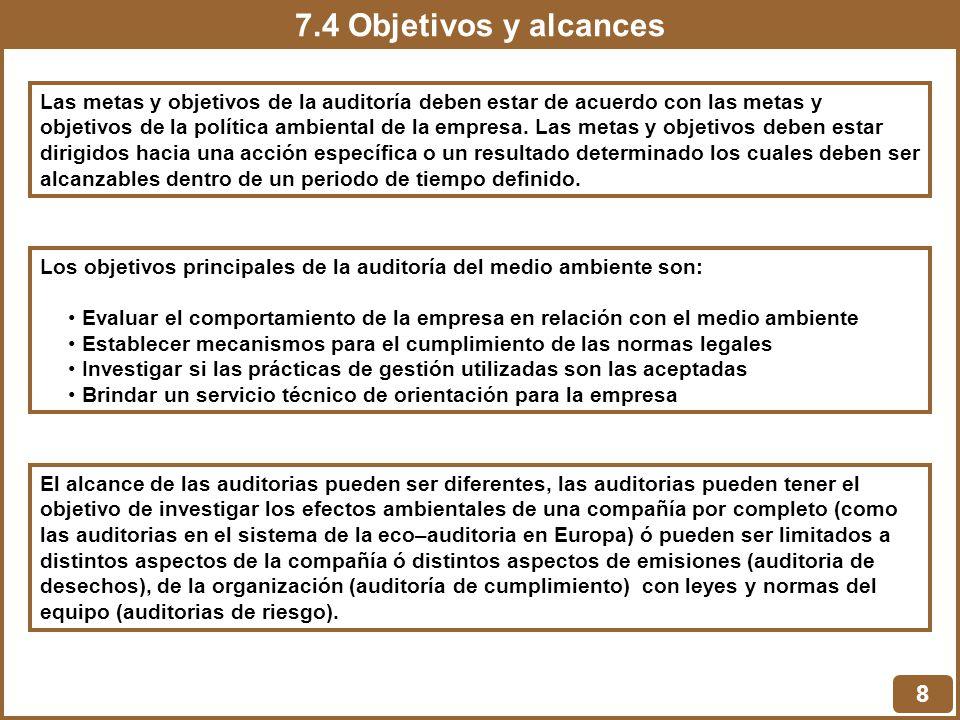 7.4 Objetivos y alcances