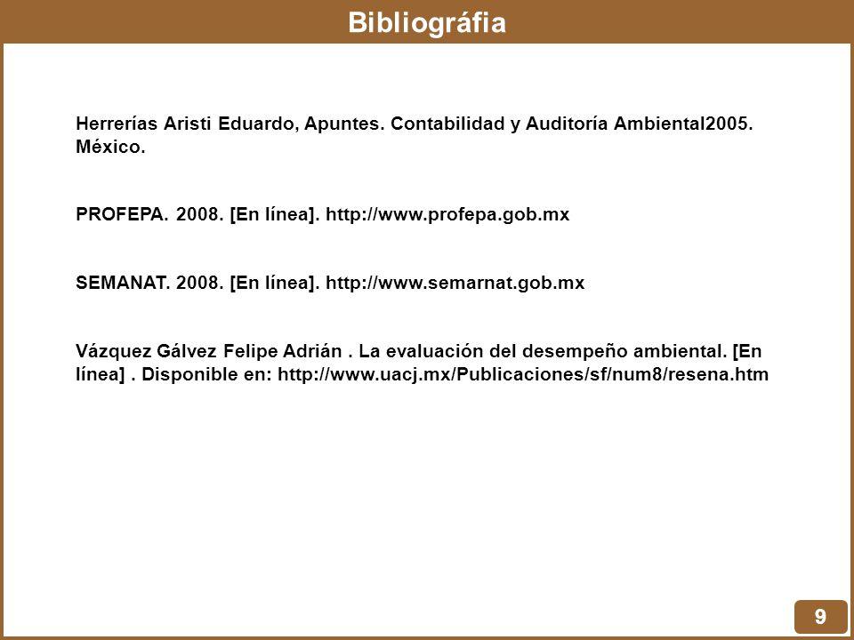 Bibliográfia Herrerías Aristi Eduardo, Apuntes. Contabilidad y Auditoría Ambiental2005. México.