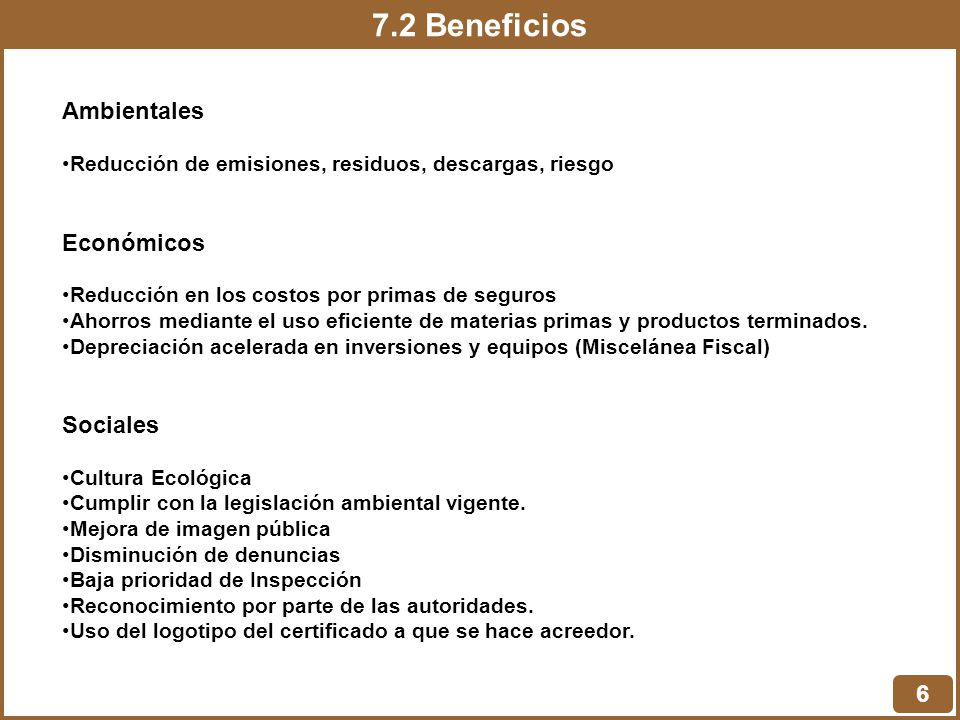 7.2 Beneficios Ambientales Económicos Sociales 6