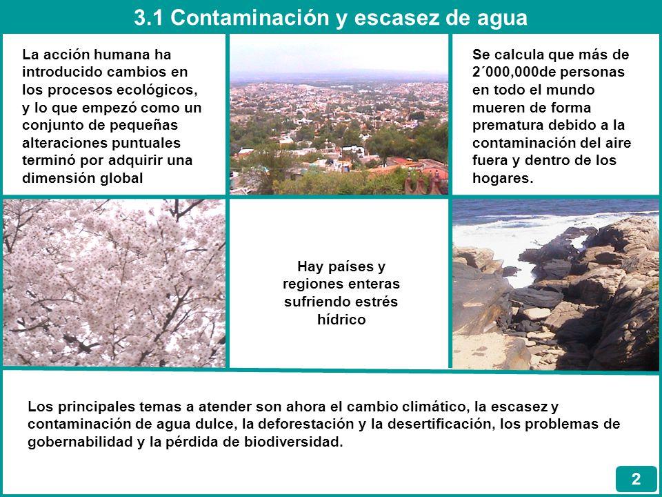 3.1 Contaminación y escasez de agua