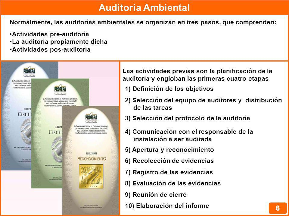 Auditoría Ambiental Normalmente, las auditorías ambientales se organizan en tres pasos, que comprenden: