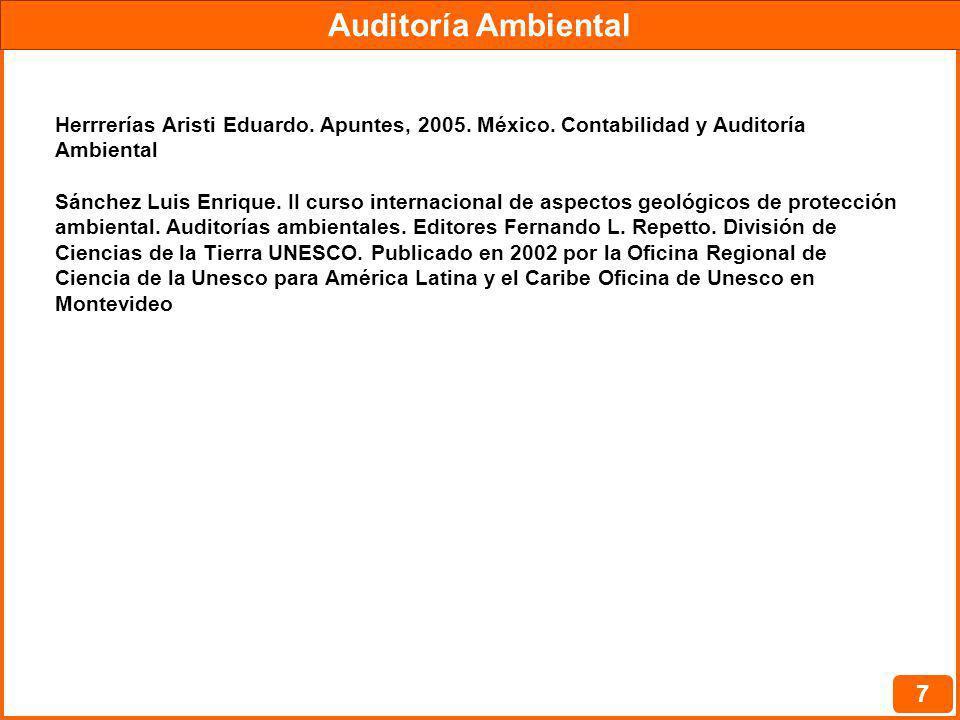 Auditoría Ambiental Herrrerías Aristi Eduardo. Apuntes, 2005. México. Contabilidad y Auditoría Ambiental.