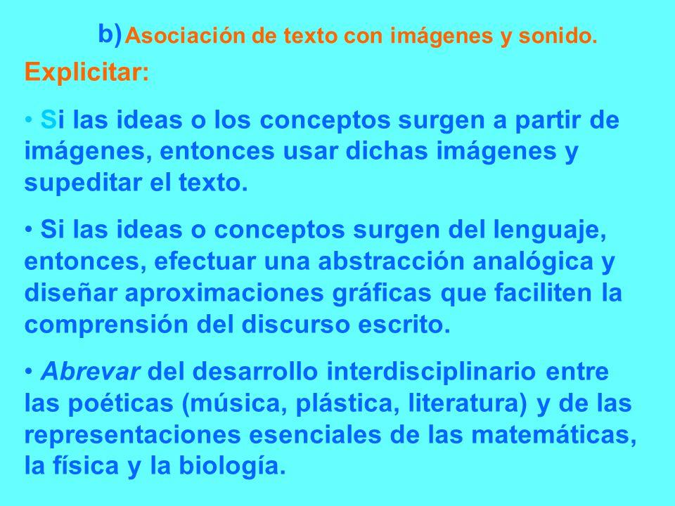 Asociación de texto con imágenes y sonido.