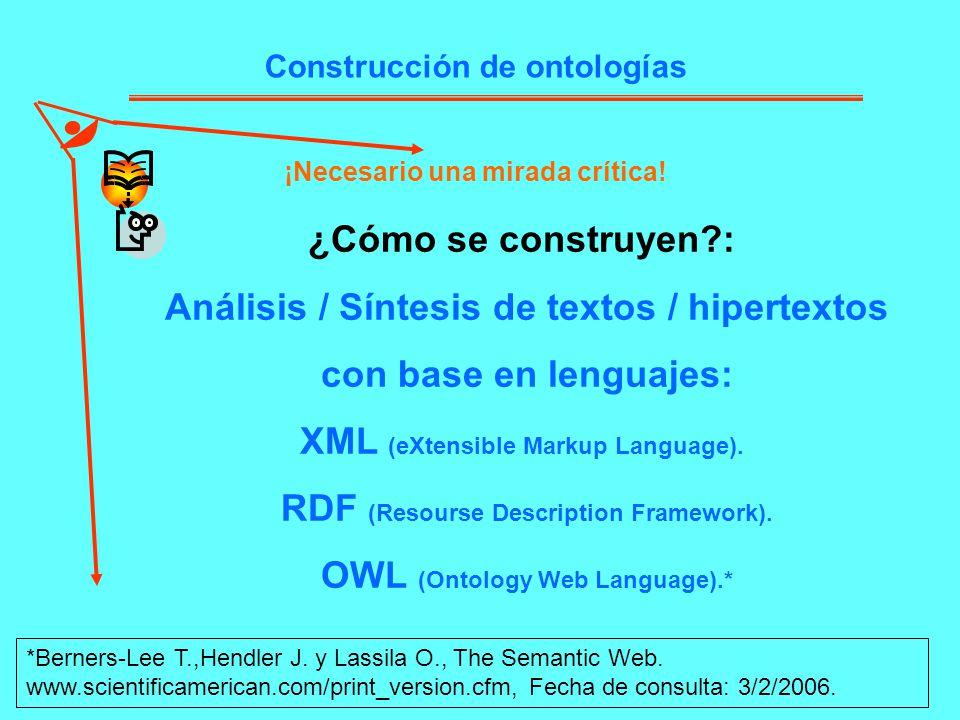 Análisis / Síntesis de textos / hipertextos con base en lenguajes: