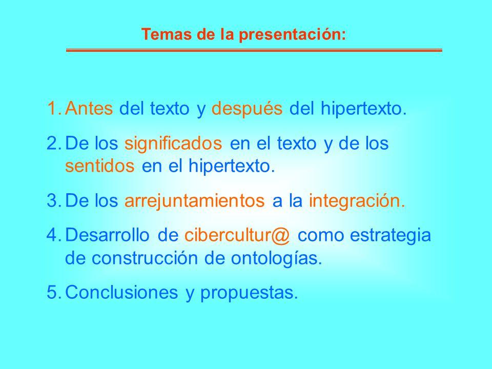 Temas de la presentación: