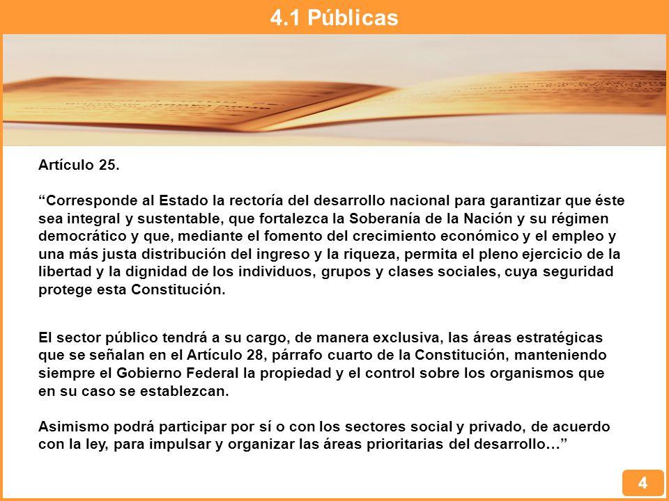 4.1 Públicas Artículo 25.