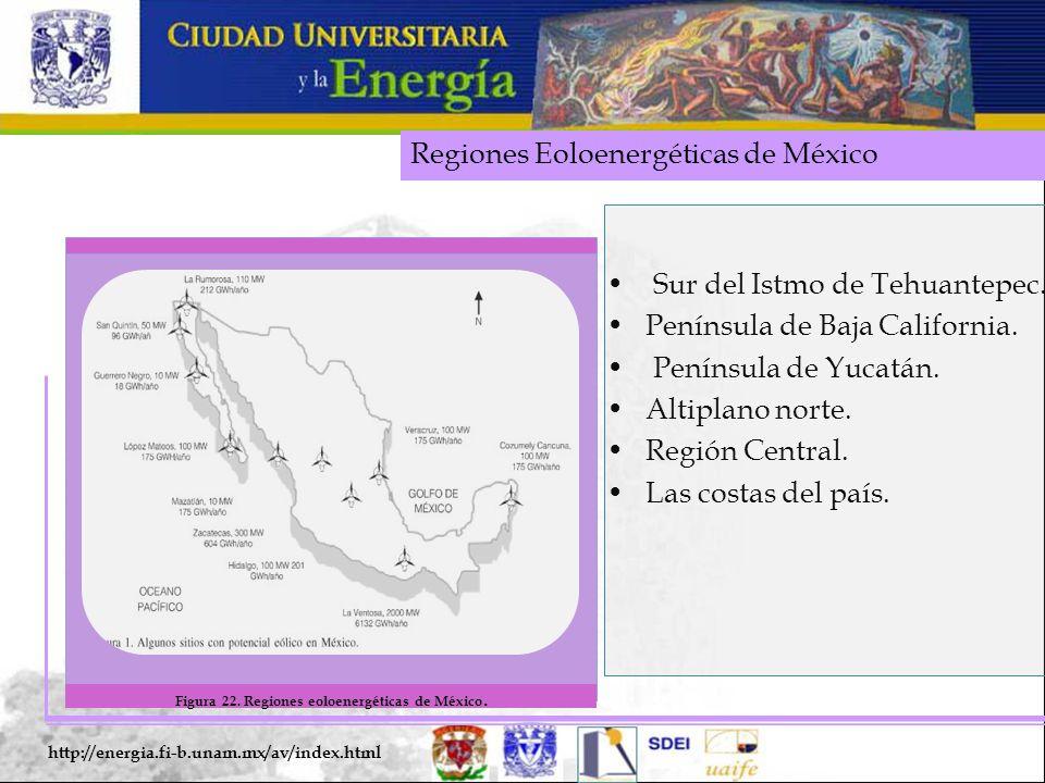 Figura 22. Regiones eoloenergéticas de México.