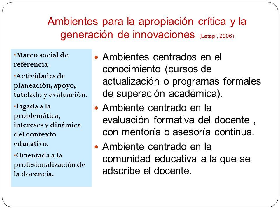 Ambientes para la apropiación crítica y la generación de innovaciones (Latapí, 2006)