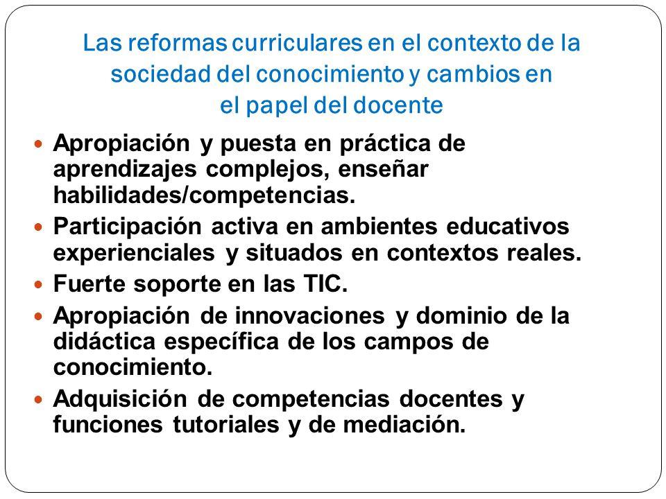 Las reformas curriculares en el contexto de la sociedad del conocimiento y cambios en el papel del docente