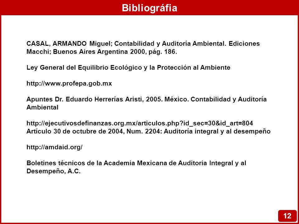 Bibliográfia CASAL, ARMANDO Miguel; Contabilidad y Auditoría Ambiental. Ediciones Macchi; Buenos Aires Argentina 2000, pág. 186.