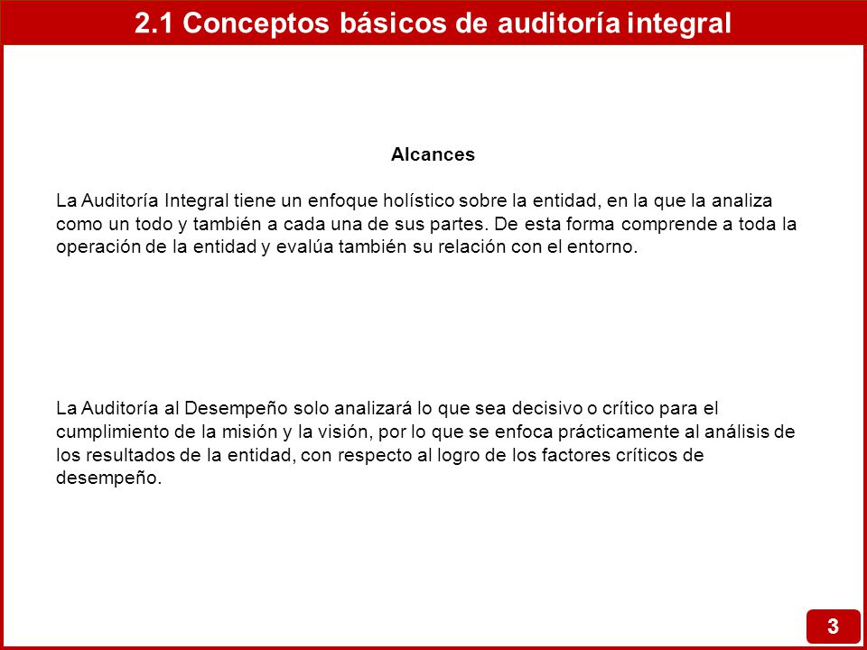 2.1 Conceptos básicos de auditoría integral