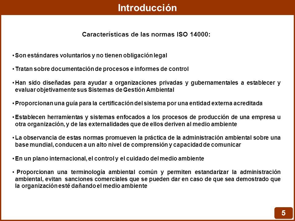 Características de las normas ISO 14000: