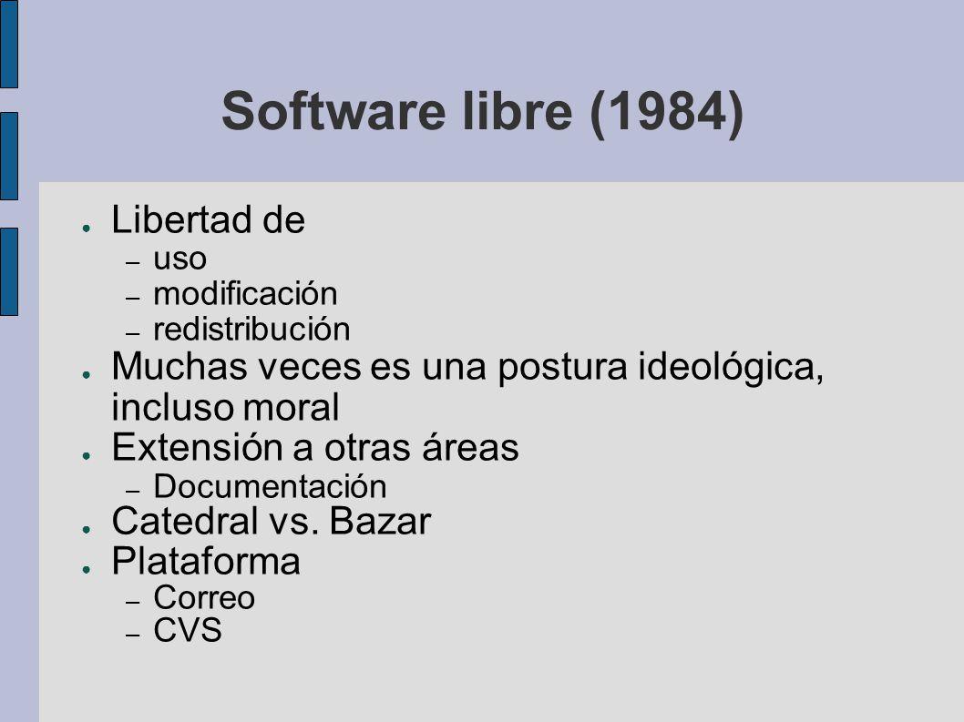 Software libre (1984) Libertad de