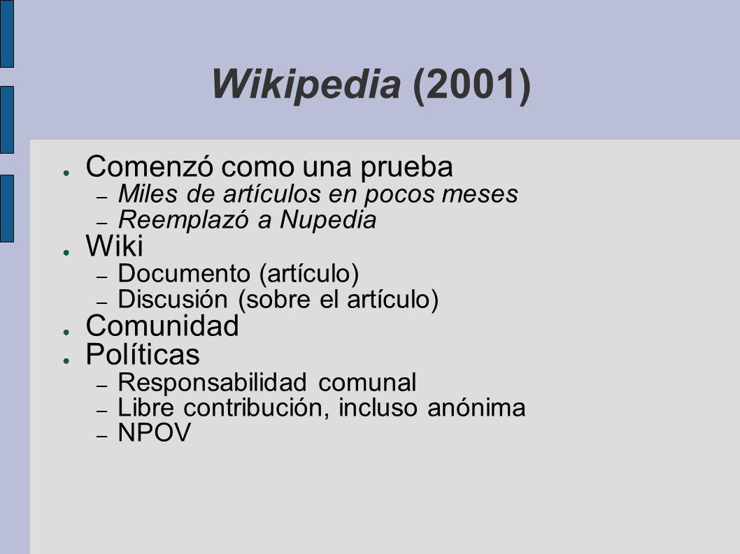 Wikipedia (2001) Comenzó como una prueba Wiki Comunidad Políticas