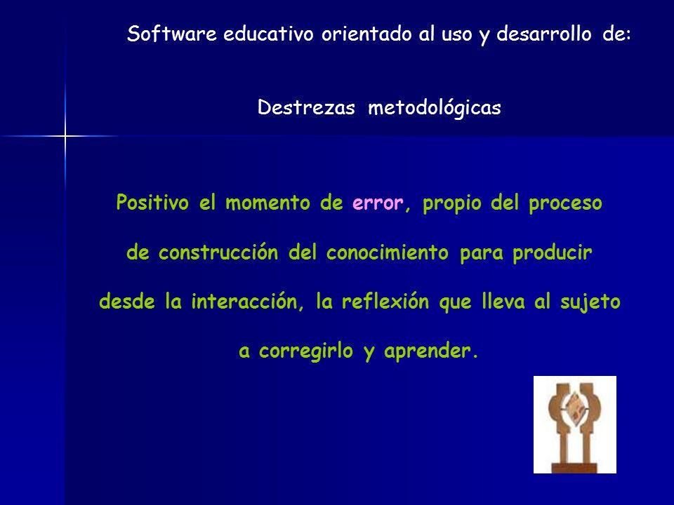 Software educativo orientado al uso y desarrollo de: