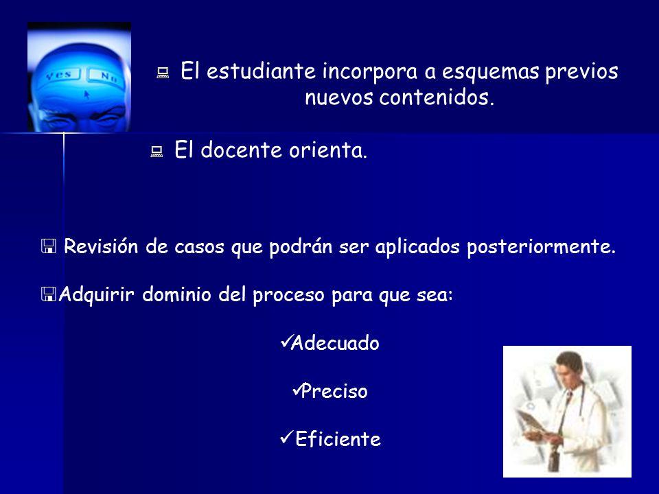 El estudiante incorpora a esquemas previos nuevos contenidos.