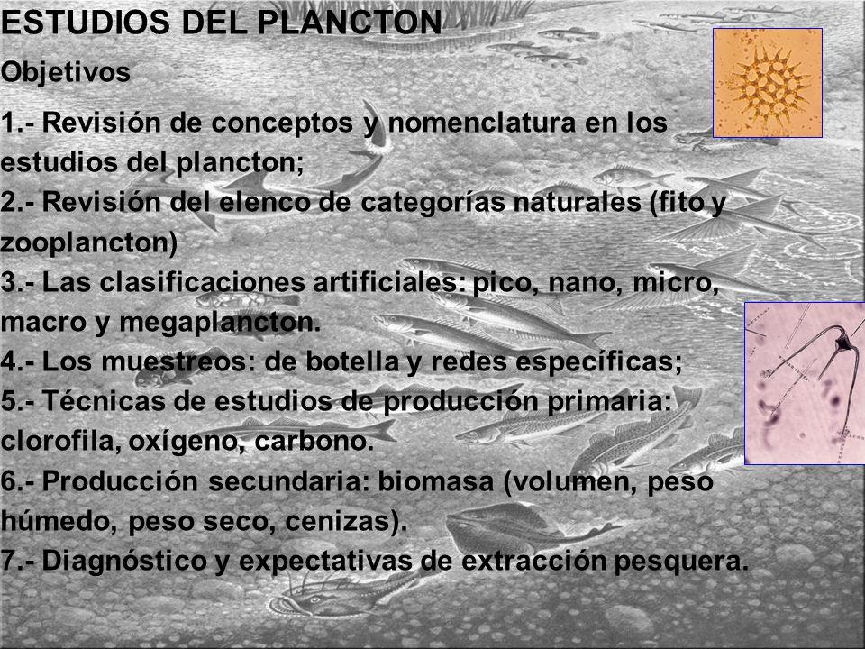 ESTUDIOS DEL PLANCTON Objetivos