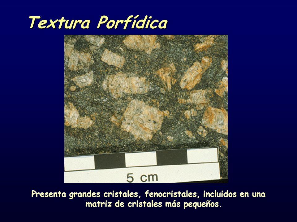Textura Porfídica Presenta grandes cristales, fenocristales, incluidos en una matriz de cristales más pequeños.