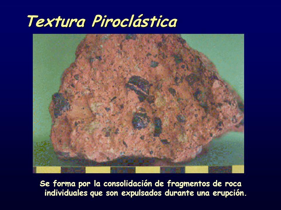 Textura Piroclástica Se forma por la consolidación de fragmentos de roca individuales que son expulsados durante una erupción.