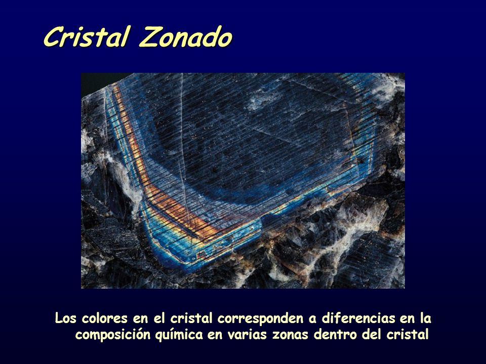 Cristal Zonado Los colores en el cristal corresponden a diferencias en la composición química en varias zonas dentro del cristal.