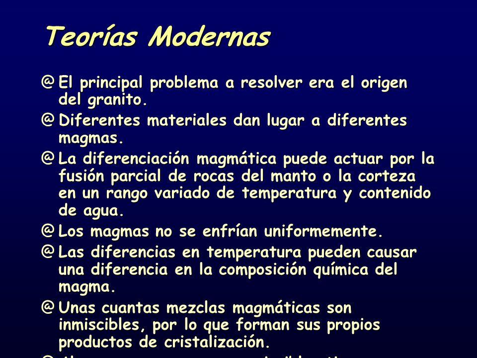 Teorías Modernas El principal problema a resolver era el origen del granito. Diferentes materiales dan lugar a diferentes magmas.