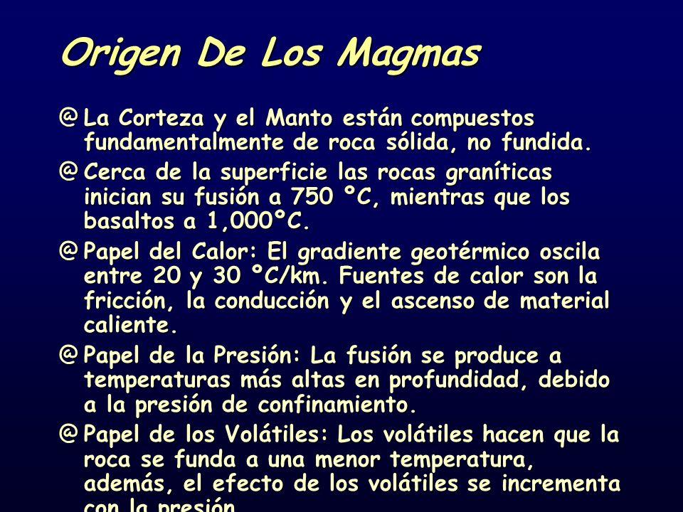 Origen De Los Magmas La Corteza y el Manto están compuestos fundamentalmente de roca sólida, no fundida.