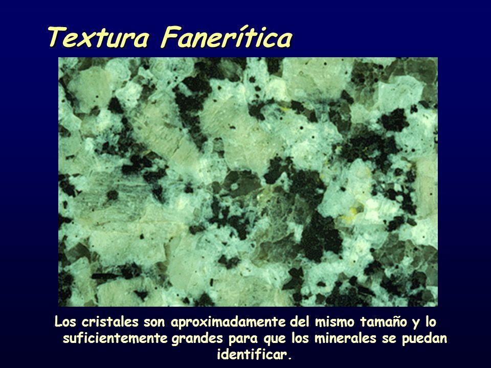 Textura Fanerítica Los cristales son aproximadamente del mismo tamaño y lo suficientemente grandes para que los minerales se puedan identificar.