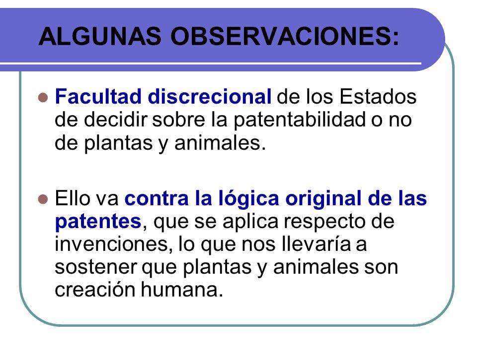 ALGUNAS OBSERVACIONES: