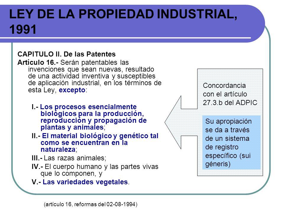 LEY DE LA PROPIEDAD INDUSTRIAL, 1991