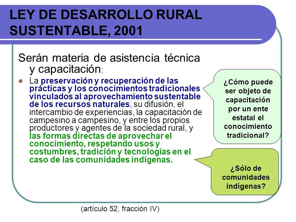 LEY DE DESARROLLO RURAL SUSTENTABLE, 2001