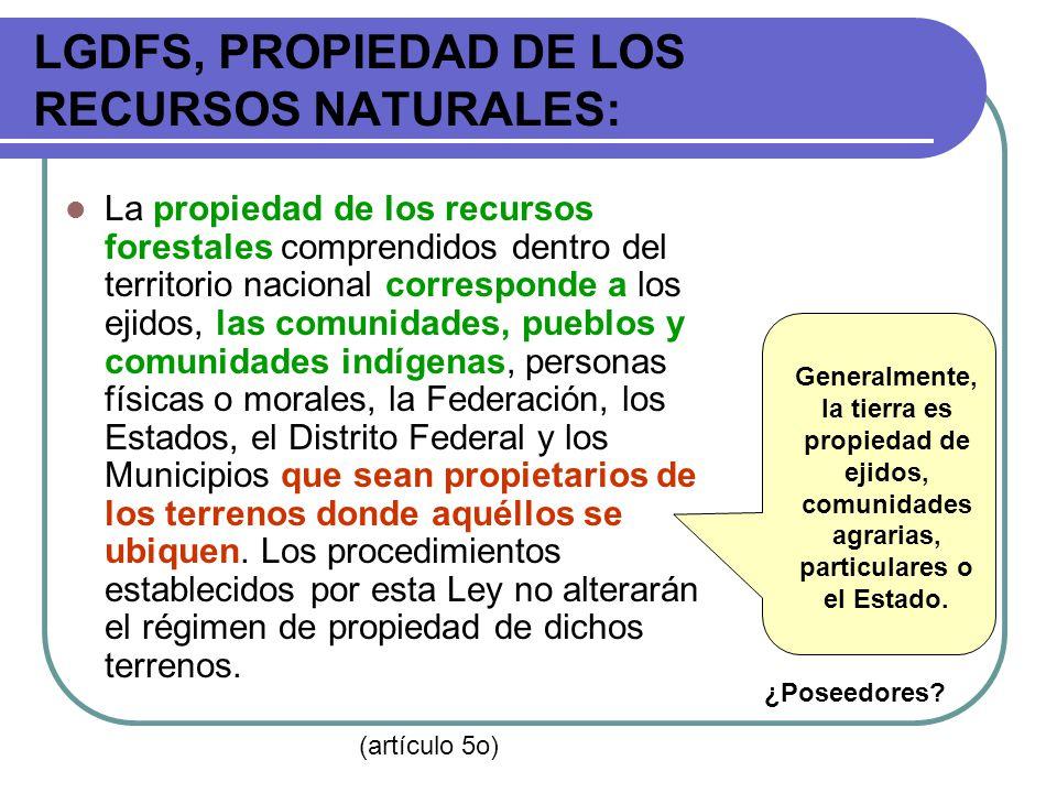 LGDFS, PROPIEDAD DE LOS RECURSOS NATURALES: