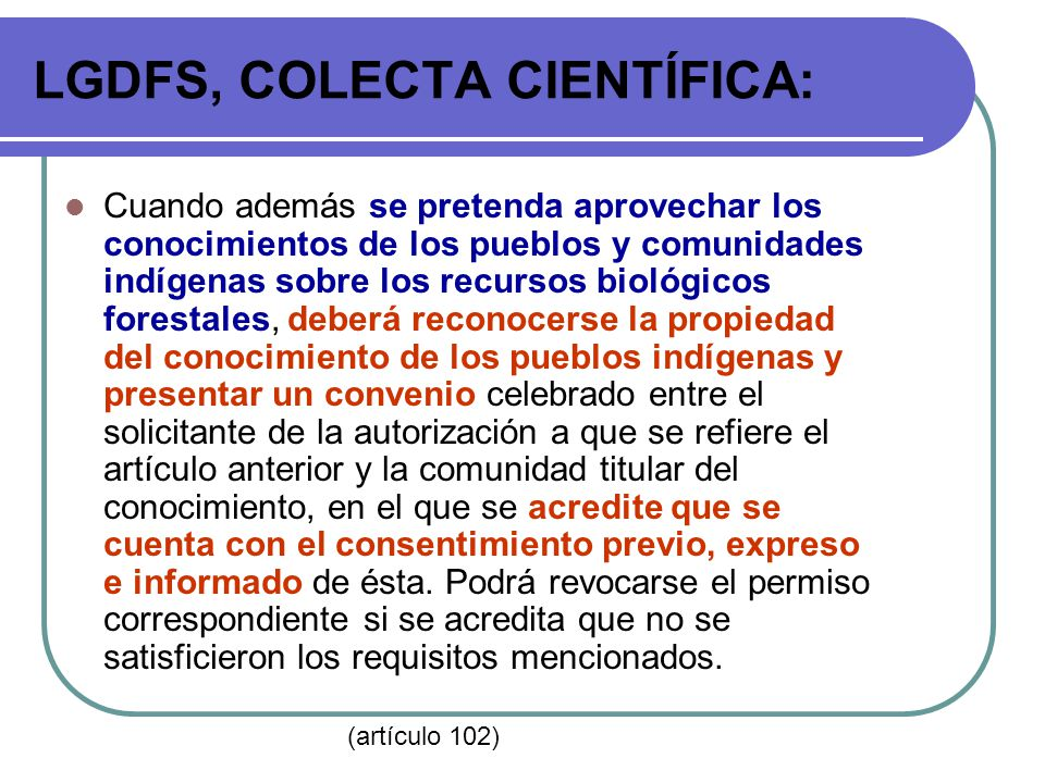 LGDFS, COLECTA CIENTÍFICA:
