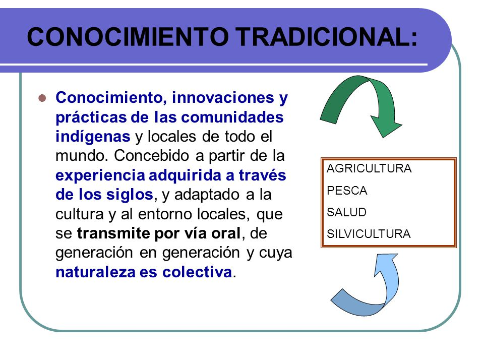 CONOCIMIENTO TRADICIONAL: