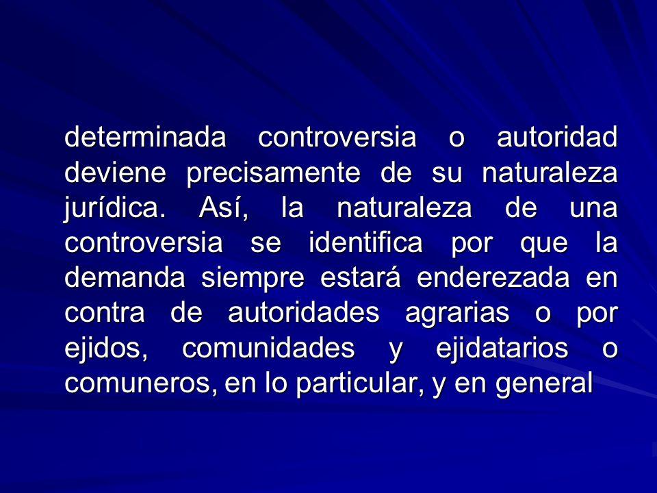 determinada controversia o autoridad deviene precisamente de su naturaleza jurídica.