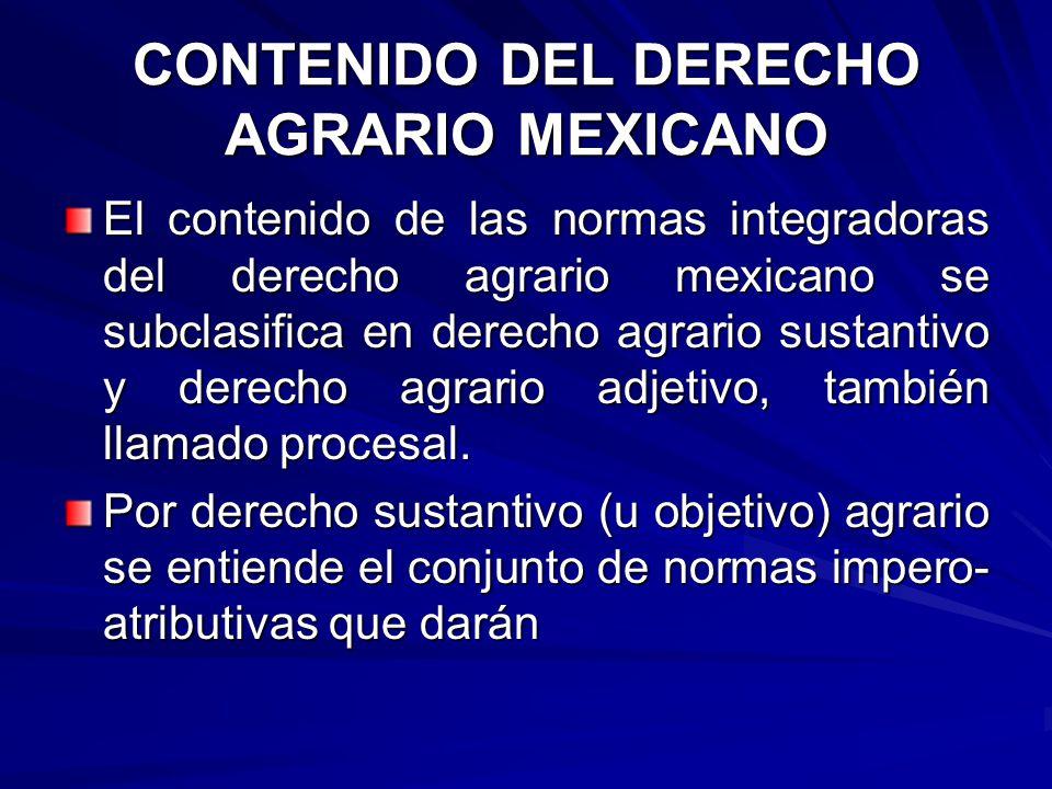 CONTENIDO DEL DERECHO AGRARIO MEXICANO