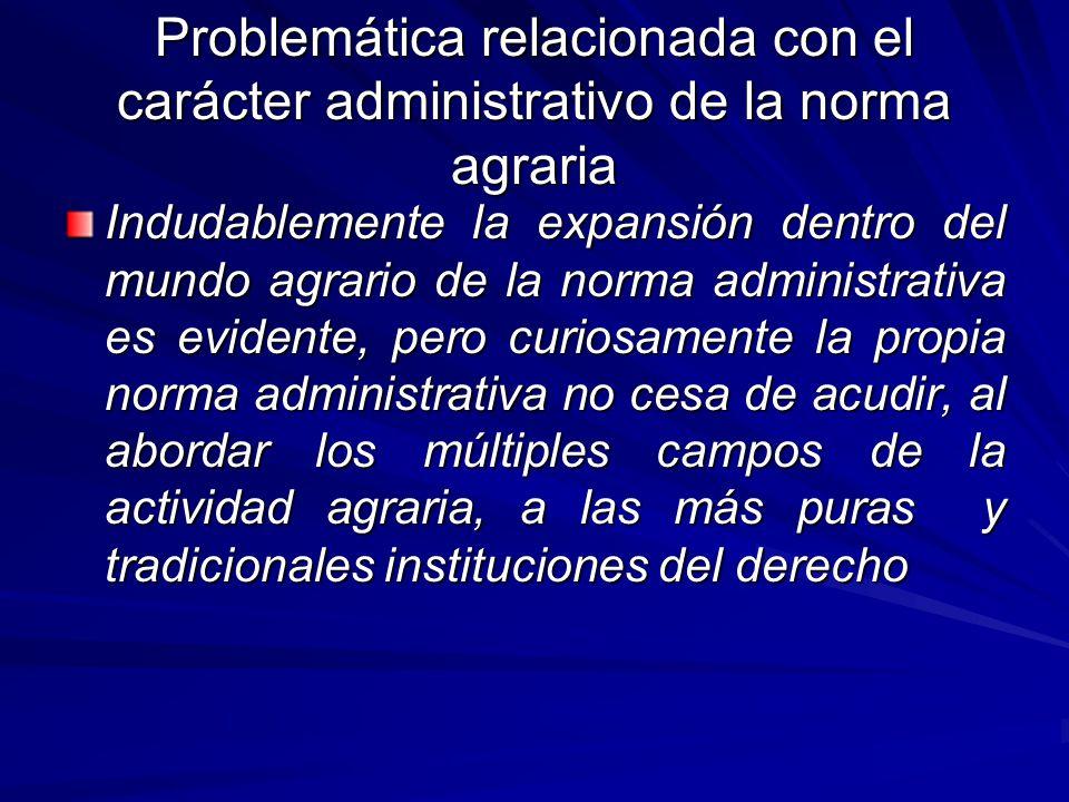 Problemática relacionada con el carácter administrativo de la norma agraria
