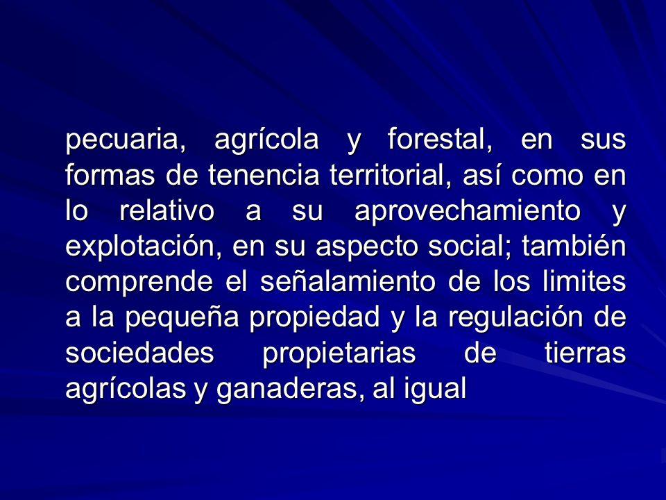 pecuaria, agrícola y forestal, en sus formas de tenencia territorial, así como en lo relativo a su aprovechamiento y explotación, en su aspecto social; también comprende el señalamiento de los limites a la pequeña propiedad y la regulación de sociedades propietarias de tierras agrícolas y ganaderas, al igual