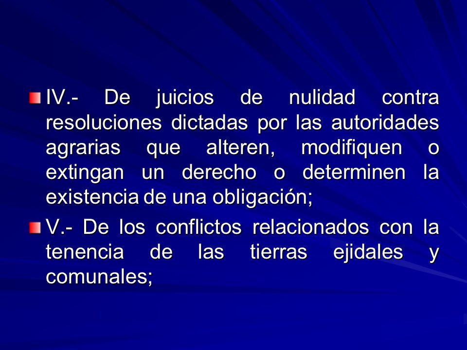 IV.- De juicios de nulidad contra resoluciones dictadas por las autoridades agrarias que alteren, modifiquen o extingan un derecho o determinen la existencia de una obligación;