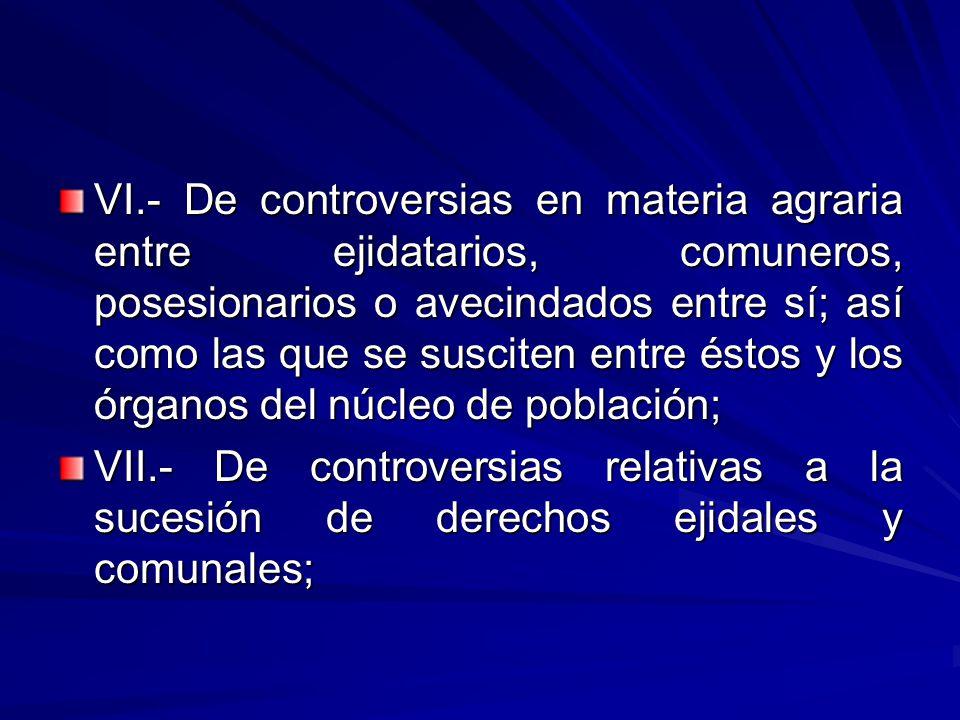 VI.- De controversias en materia agraria entre ejidatarios, comuneros, posesionarios o avecindados entre sí; así como las que se susciten entre éstos y los órganos del núcleo de población;