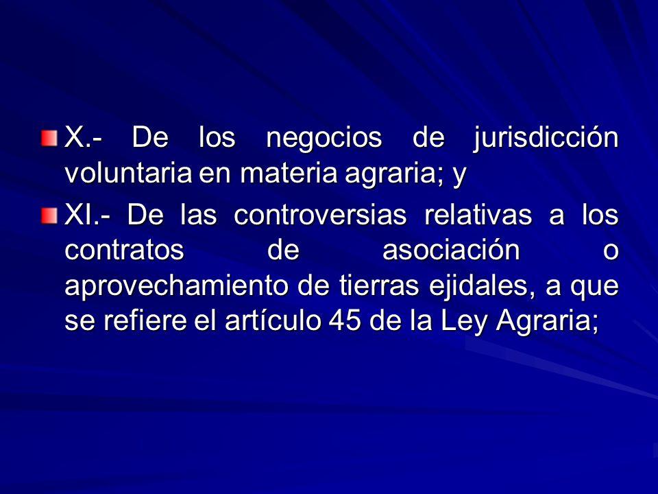 X.- De los negocios de jurisdicción voluntaria en materia agraria; y