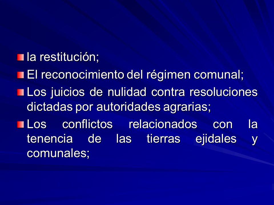 la restitución; El reconocimiento del régimen comunal; Los juicios de nulidad contra resoluciones dictadas por autoridades agrarias;