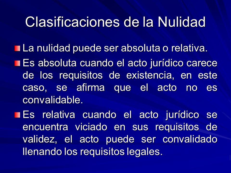 Clasificaciones de la Nulidad