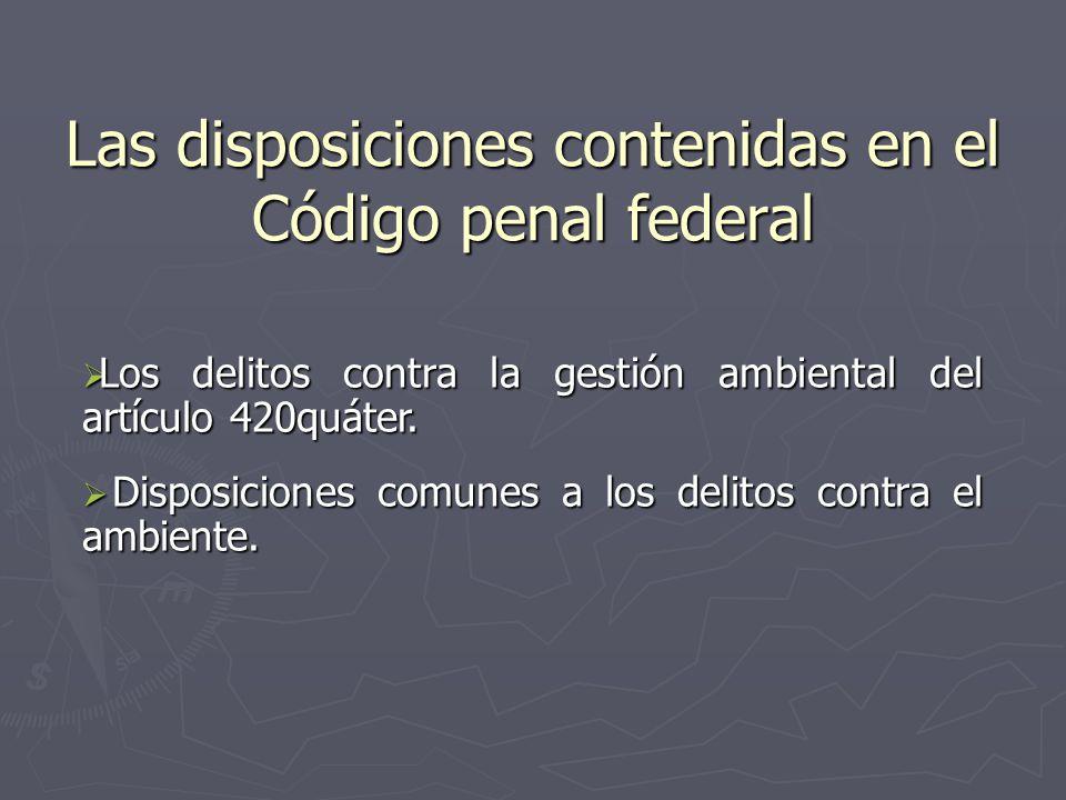 Las disposiciones contenidas en el Código penal federal