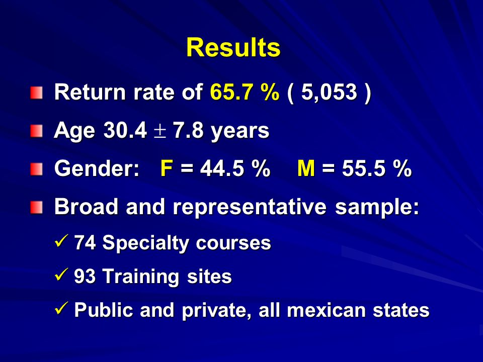 Results Return rate of 65.7 % ( 5,053 ) Age 30.4  7.8 years