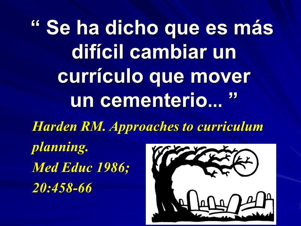 Se ha dicho que es más difícil cambiar un currículo que mover un cementerio...