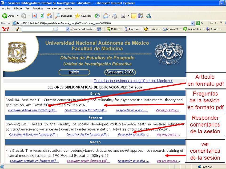 Artículo en formato pdf. Preguntas. de la sesión. en formato pdf. Responder. comentarios. de la sesión.