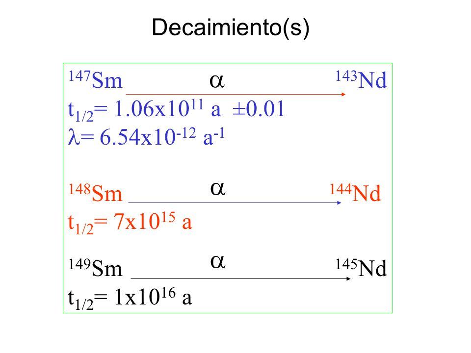 a a a Decaimiento(s) 147Sm 143Nd t1/2= 1.06x1011 a ±0.01