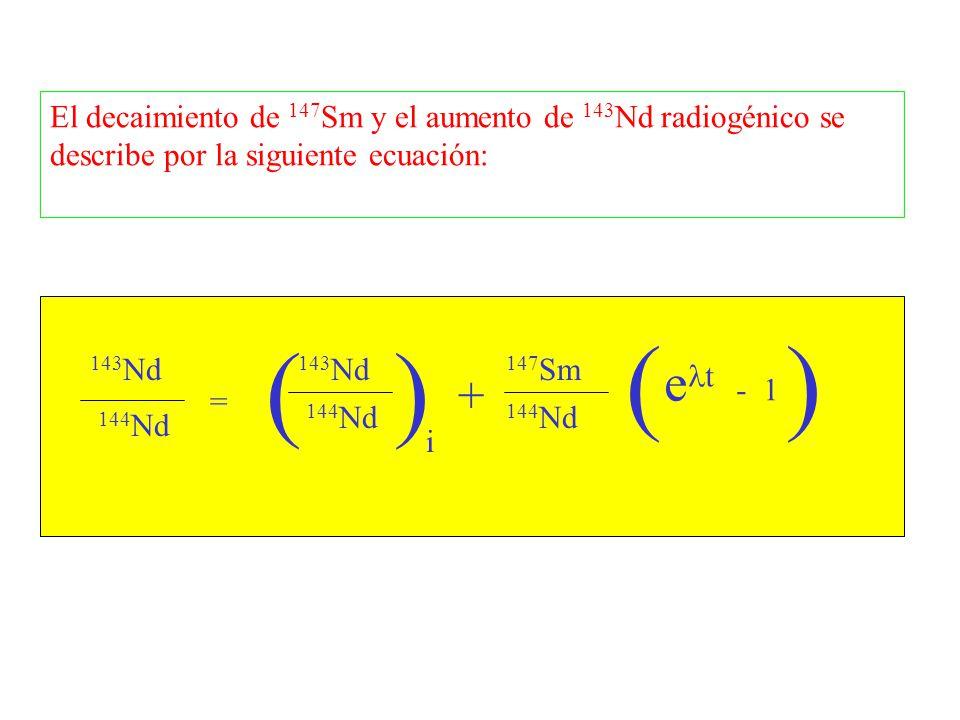 El decaimiento de 147Sm y el aumento de 143Nd radiogénico se describe por la siguiente ecuación: