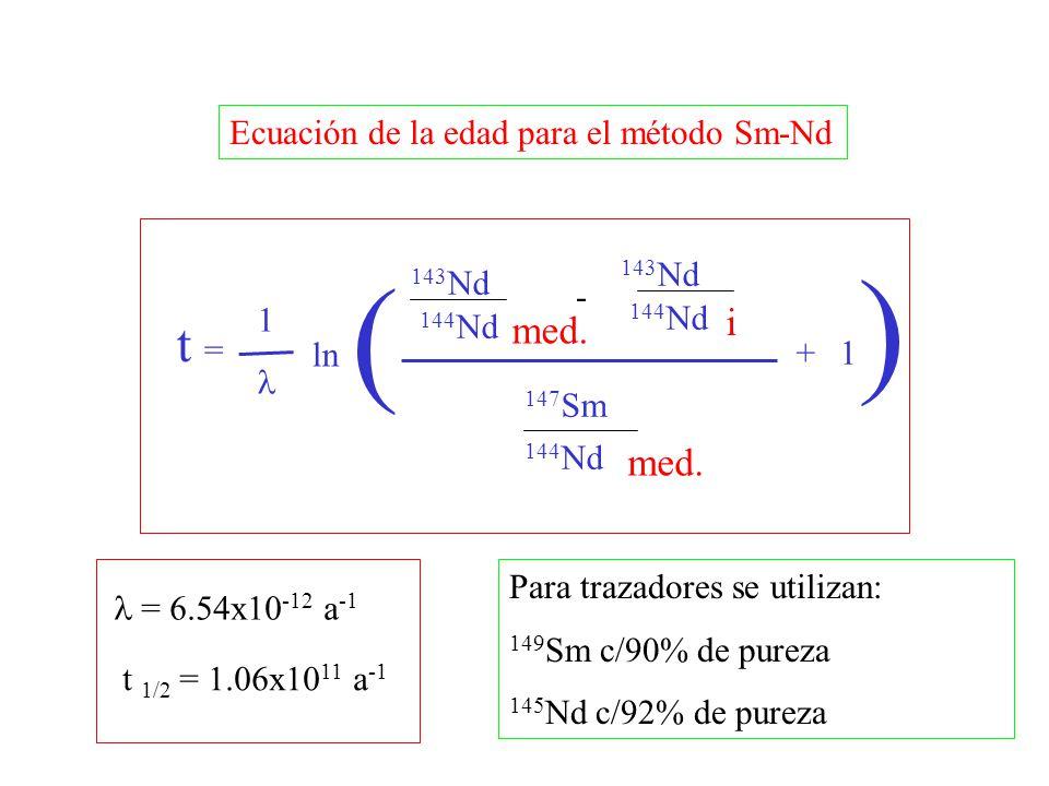 ) i med. med. t = Ecuación de la edad para el método Sm-Nd ( 143Nd
