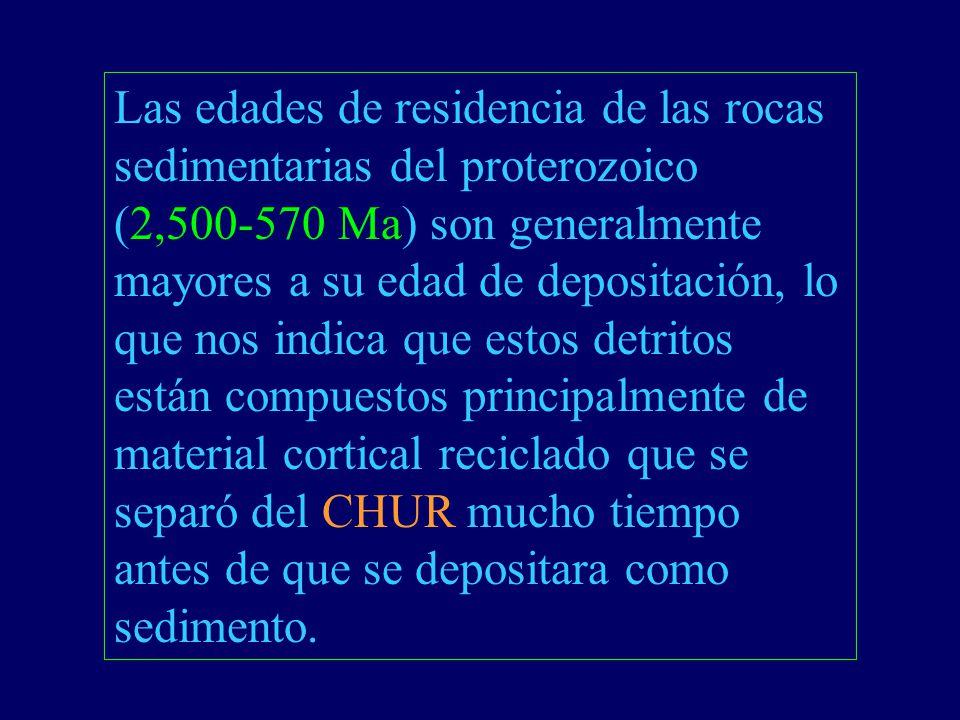 Las edades de residencia de las rocas sedimentarias del proterozoico (2,500-570 Ma) son generalmente mayores a su edad de depositación, lo que nos indica que estos detritos están compuestos principalmente de material cortical reciclado que se separó del CHUR mucho tiempo antes de que se depositara como sedimento.